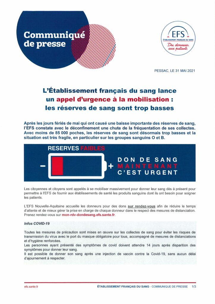Communiqué de presse - Appel d'urgence Don du sang Saint Sever de Saintonge 17800